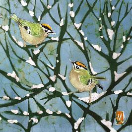 Goldcrests on Snow Giclee Batik Print (Blue)
