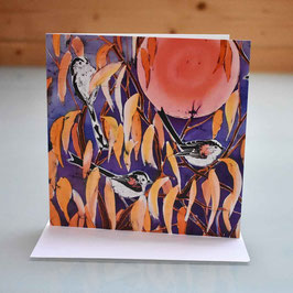 Longtails on Cherry Greeting Card