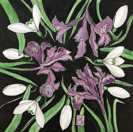 Iris and Snowdrops Art Print