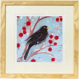 Blackbird On Red Crab Apples Detail Giclee Batik Print