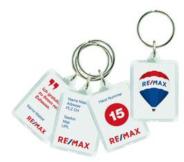 Schlüsselanhänger mit individuell bedruckter Einlage