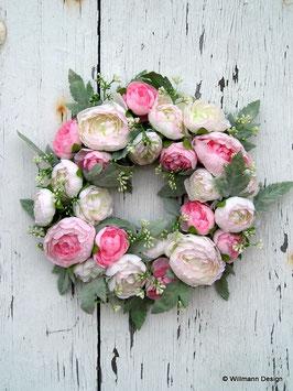 Frühlingskranz Ranunkeln rosa/weiss