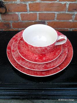 Geschirr Blümchen mit Karo rot Dessertteller