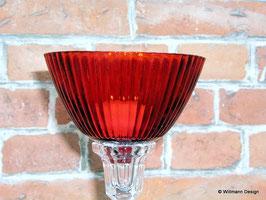 Kerzeneinsatz Windlicht geriffelt, rot