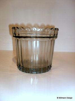 Übertopf Glas 15 cm antik