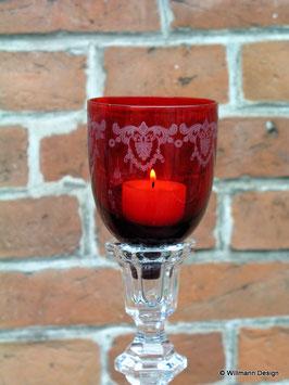 Kerzeneinsatz Windlicht Schliff rot