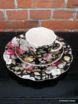 Geschirr bunte Rosen Tasse mit Untertasse