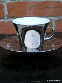 Espressotasse silber mit Glitzersteinen
