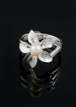 Silber Ring Blume Perle