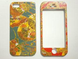 和柄のスマートフォンケース 両面タイプ iPhone5                      菖蒲と笹と菊などの模様