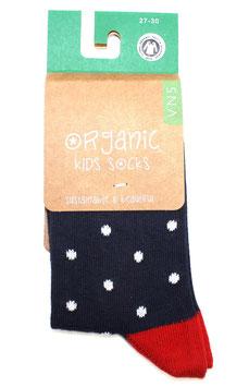 Organic Kids Socks- Pünktchen Blau rot
