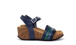 Grand Step Shoes Damensandale mit Keilabsatz - Jade Multi Navy