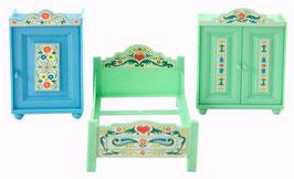 70er Puppenmöbel Schlafzimmer Jean Folklore 1:18