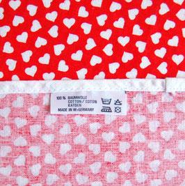 80er Tischdecke Herzen Rot Weiss