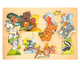 70er Fisher Price Holzpuzzle Waldtiere