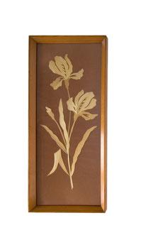 70er DDR VEB Holzbild mit Holzblumen