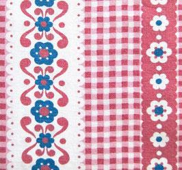 70er Puppenbettwäsche Folklore Rot Weiß