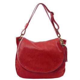 Tuscany Leather Tassel Detail Leather Bag Red