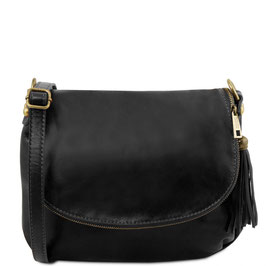 Tuscany Leather Soft Leather Cross Body Bag Black