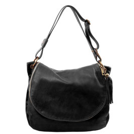 Tuscany Leather Tassel Detail Leather Bag Black