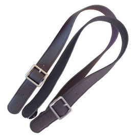 Long Flat O Bag Handles - Faux Leather - Brown