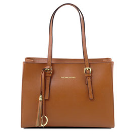 Tuscany Leather Saffiano Leather Bag Brown
