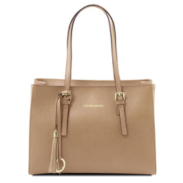 Tuscany Leather Saffiano Leather Bag Caramel