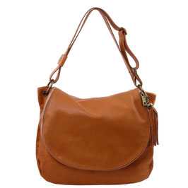 Tuscany Leather Tassel Detail Leather Bag Cognac