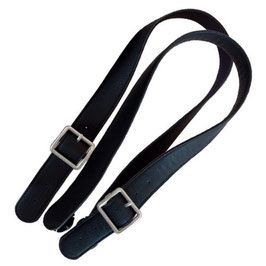 Long Flat O Bag Handles - Faux Leather - Black