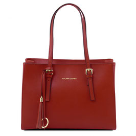 Tuscany Leather Saffiano Leather Bag Red