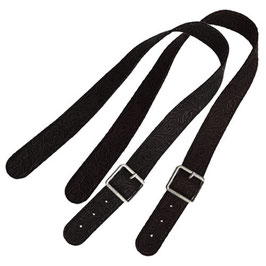 Long Flat O Bag Handles - Faux Leather - Cowboy Black
