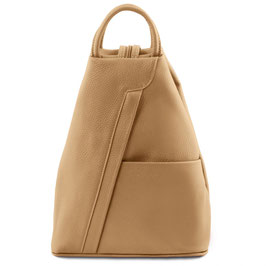 Tuscany Leather Shanghai Leather Backpack Champagne