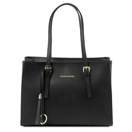 Tuscany Leather Saffiano Leather Bag Black