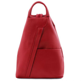 Tuscany Leather Shanghai Leather Backpack Lipstick Red