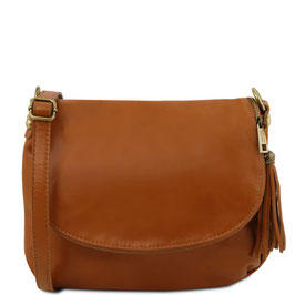 Tuscany Leather Soft Leather Cross Body Bag Cognac