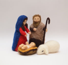 Krippenfiguren Heilige Familie & Schaf