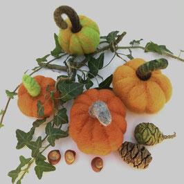 Herbstdeko Set gefilzte Kürbisse