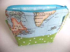Täschchen Weltkarte mint und grün
