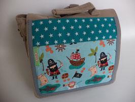 Kindergartentasche / Kinderrucksack Piraten beige/petrol
