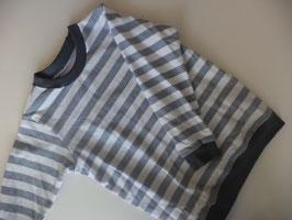 Langarmshirt gestreift grau/weiß Gr. 98/104
