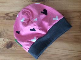 Beanie / Mütze Herzen rosa Gr.45-50cm