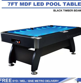 Blue LED 7FT MDF Billiard/Pool/Snooker Table (Black Frame) | FREE DELIVERY!
