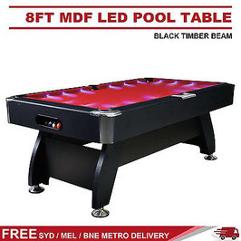 50 % OFF **BRAND NEW!** Vivid Series Pool Table - Luxury 8FT MDF Billiard/Pool/Snooker Table (Red Felt/Black Frame) With Super Bright LED | FREE DELIVERY!
