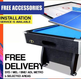 All In One! 7FT Pool Table, Air Hockey and Ping Pong Top! (Blue Felt) | FREE DELIVERY!