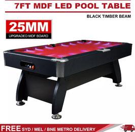 Red LED 7FT MDF Billiard/Pool/Snooker Table (Black Frame) | FREE DELIVERY!