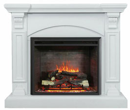 NEW WHITE 2000W ELECTRIC FIREPLACE WOOD MANTEL SUITE WITH FLAME EFFECT WOOD LOGS COVE MANTEL