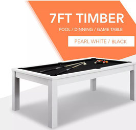 **BRAND NEW!** 7ft White Frame Black Felt Cloth Dining Pool Table | FREE DELIVERY!