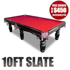 10FT LUXURY RED FELT SLATE POOL/SNOOKER/BILLIARD TABLE!