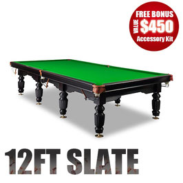 NEW! 12FT LUXURY GREEN SLATE SNOOKER/BILLIARD TABLE!SALE! WAS $8999 Now $5999!