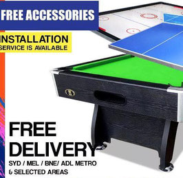 All In One! 7FT Pool Table, Air Hockey and Ping Pong Top! (Green, Red, Blue Felt) | FREE DELIVERY!